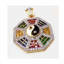 MULTI SAPPHIRE COLOR CZ Yin Yang Amulet 18K 22K Yellow Gold Plated Thai Pendant