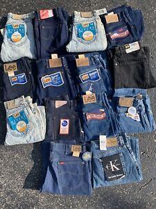 BULK LOT (14 PC) 70s 80s Lee Rare Deadstock Vtg Mens Denim Jeans NOS NEW USA