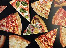 NT37 Pizza Pepperoni Mushroom Extra Cheese Italian Food YUM Cotton Quilt Fabric