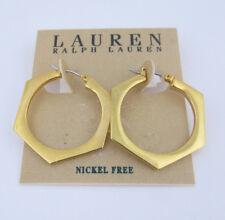 Lauren Ralph Gold Tone Lauren Hexagon Hoop Earrings