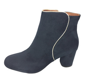 Womens Ladies Navy Faux Suede Mid Heel Winter Shoes Ankle Boots Size 4 6 7 New
