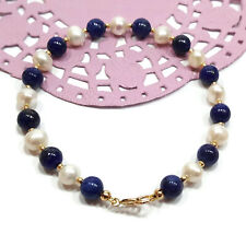 9ct Gold Bracelet White Pearl and Lapis Lazuli Gemstone Beads for Her or Him