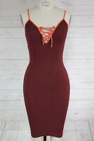 New Free People Intimate Seamless Ribbed Strappy V Neck Bodycon Slip Dress Xs/S
