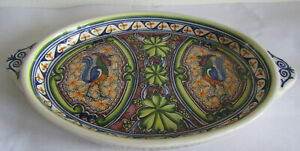 """Hand Painted signed oval rooster design platter, Coimbra Portugal, 12.5"""" long"""