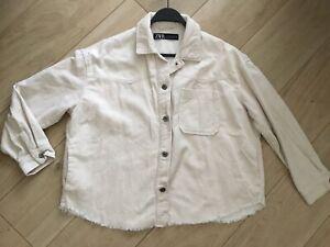 Zara Cream Cord Shacket Size 10-12 M Jacket