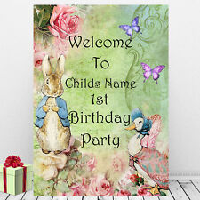 Peter Rabbit Welcome Sign Babies 1st First Birthday Decoration Personalised