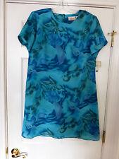 NWT KATHIE COLLECTION DRESS SIZE 12 BLUE COLORS SS FLORAL