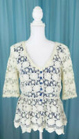 Anthropologie Darling Lace Teal Lined Peplum Button Front Blouse Sz Sm Pre-Owned