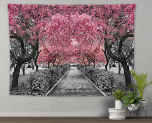 Pink Sakura Park Tapestry Natural Scenery Wall Hanging for Bedroom Dorm Decor