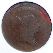 1797 LIBERTY CAP PLAIN EDGE HALF CENT OLD SMALL WHITE ANACS FR 2 EVEN CHOCOLATE