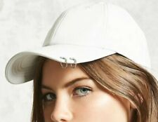 Forever 21 White Faux Leather Pierced Ring Adjustable Baseball Dad Cap Hat NEW
