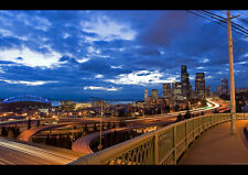"""SEATTLE NIGHT A3 CANVAS GICLEE ART PRINT POSTER FRAMED 16.5"""" x 11.1"""""""