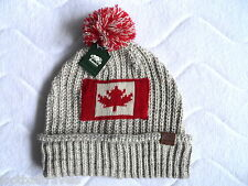ROOTS CANADA Boys or Girls CHUNKY KNITTED Flag Beanie Hat Tuque Fog Fleck