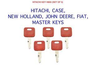 5 x H800 HITACHI CASE FIAT JOHN DEERE NEW HOLLAND Master Plant Excavator Keys