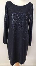 Tibi Women's Navy Blue Long Sleeve Evening Dress Sequined Slit Back SZ L Large