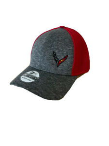 C8 Corvette New Era Fitted Hat Red with Heather Gray Bill Buds Chevrolet