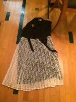 MODCLOTH Dress: Fervour Black and Ivory Fully-Lined, XL - worn twice!!!!!!!!!!!!