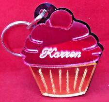 Pink Cupcake Key Chain Custom Name Engraved Free keychain personalized keyring