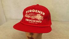Vtg Burgener Trucking LaPorte Colorado Red Mesh Snapback Trucker Hat/Cap NOS
