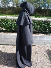 black  quality long hooded cloak with cape and pointed hood. grim reaper