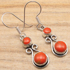Silver Plated French Wire Earrings Unseen Orange Opper Turquoise Gemstones, 925