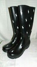 R L POLO Pony Waterproof Rubber RainBoot-WOMEN SZ 7-BLACK WHITE PONY