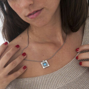 Shablool Blue Simulated Opal Sterling Silver 925 Necklace
