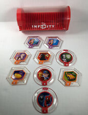 Lot- 9 Disney Infinity Power Disc Crystals Including Spider-Man and Storage Case
