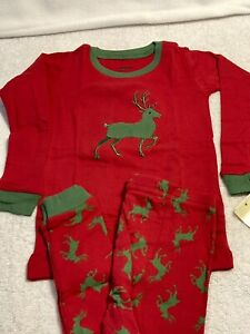 Leveret Kids/Boys/Girls Christmas Red/Green Reindeer Pajamas Size 6 New w/Tags