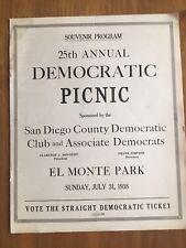 Vintage 1938 Democratic Picnic Souvenir Program San Diego El Monte Park