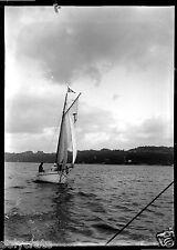 Voilier en mer - négatif photo ancien verre negative glass an. 1920