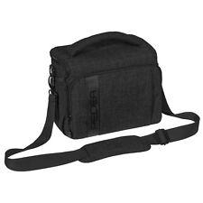 Kameratasche Fototasche mit Zubehörfächer, Regenschutz, Schultergurt, XL schwarz