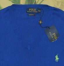 Mens Polo RALPH LAUREN Royal Blue V Neck Pima Cotton Pullover Sweater Medium NWT