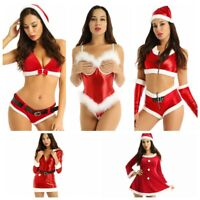 Mrs. Santa Claus Women's Costume Dress Sequins Christmas Bodysuit Tops Shorts