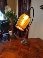 Antique French Lamp   RGF SIGNED IRIDESCENT Gold AURENE FAVRILE ART GLASS RIB