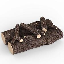 "Regal Flame 5 Pc 16"" Ceramic Propane Gel Ethanol Gas Fireplace FirePit Logs Oak"