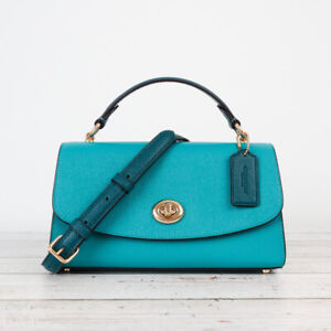 NWT Coach C2821 Crossgrain Leather Tilly Satchel 23 in Colorblock in Teal Ink