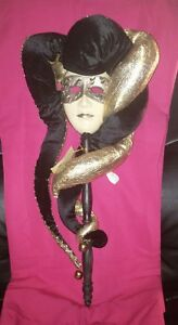 NWT VENETIAN STYLE * MASK ON STICK * METALIC GOLD * BLACK VELOUR * BELLS