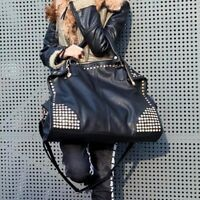 Ladies Trendy Shopping Crossbody Messenger Leather Shoulder Bag Rivet Tote Bag