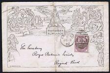 1882 The 'WHITAKER's Almanack' 1d Mulready Facsimile Enfield to Royal Botanic ainsi