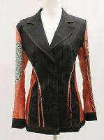 Legatte Jeans by Save the Queen Striped Orange Suede Leather Panel Jacket Sz 4