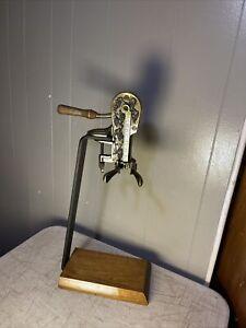 Estate Brass Table Top Wine Bottle Opener w/ Wood Base Corkscrew