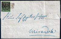 1856 - Lettera da Novellara a Mirandola resa franca con cent.5 verde (n.7)