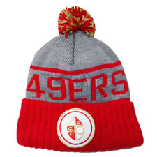 a348d40bd Mitchell and Ness San Francisco 49ers High 5 Grey Cuffed Pom Knit Beanie Hat  Ca