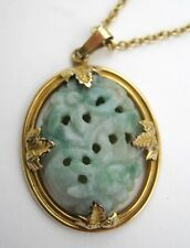 """""""Moss in Snow"""" Floral Carved Jade Pendant in a Gold-Filled Leaf Motif Setting"""
