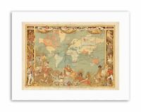 MAP EMPIRE 1886 IMPERIAL PEOPLE WORLD Picture Canvas art Prints