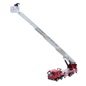 1:50 Alloy Diecast Fire Engine Ladder Truck Car Model Home Bedroom Ornament