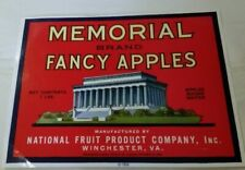Memorial Brand National Fruit Product Company Winchester Virginia  Crate Label