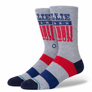 Stance Men's L 9-12 Willie Nelson Stars Crew Socks Gray Red Blue Casual