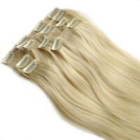 """100% Real Human Hair Full Head Clip in Remy Hair Extensions #22 ash blonde 18"""""""